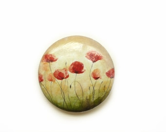 Hand Painted Magnet, Miniature Watercolor Painting, Art Magnet, Poppies, Flower Wooden Magnet, Kitchen Fridge Magnet, Office Supply