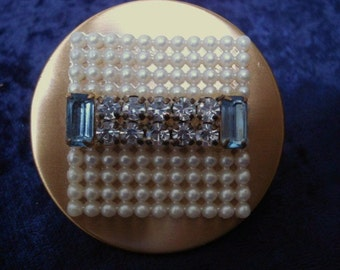Great VINTAGE  LIPSTICK HOLDER  Lipstick Holder - Purse Size with Mirror - Tiny Pearls - Clear and Blue Rhinestones