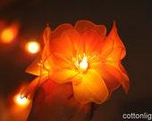20 handmade orange Nylon Rose floral Flower LED String Fairy Lights Lanterns Wedding Decor Party