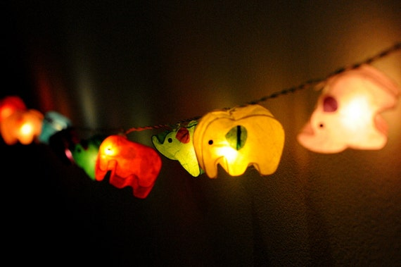 handmade elephant paper string light lantern mix by cottonlight