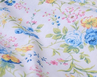 White Cotton With Blue Yellow Pink Flower Fabric Quilt Fabric- Fabric 1/2 yard
