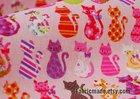 Children Kids Pink Fabric Cloth- Pink Cats Linen Cotton Fabric Cute Animal Cats On Pink Kids Quilting Fabric  1/2 yard
