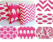 Hot pink throw pillow cushion cover you choose print candy pink hot pink white