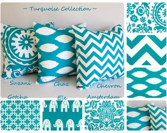 Turquoise throw pillow cover you choose fabric turquoise cushion cover chevron pillow sham