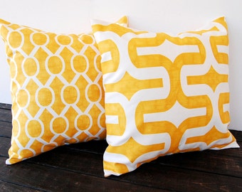 Throw pillow covers pair cushion covers mustard yellow pillow shams modern contemporary home decor