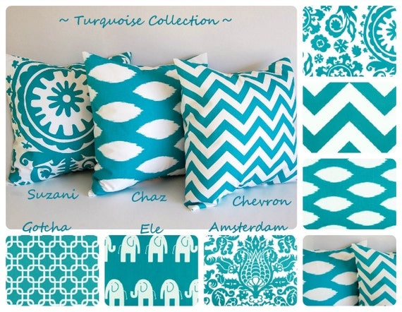 Items similar to turquoise throw pillow cover 20 x 20 - Fabric for throw pillows ...
