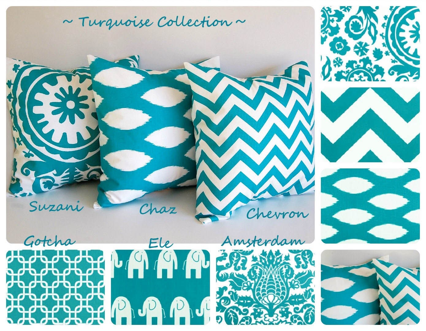 Turquoise throw pillow cover 22 x 22 you choose - Fabric for throw pillows ...