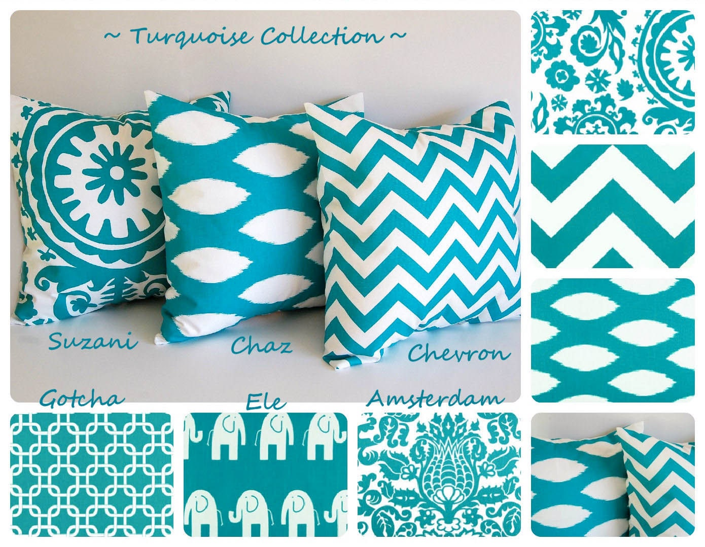 Turquoise Throw Pillow Cover 22 X 22 You Choose
