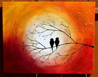 "Love Birds on a Tree Limb in the Sunrise/Sunset: Acrylic Abstract Painting, Red, Yellow, orange, purple, Gold 16"" by 20"""