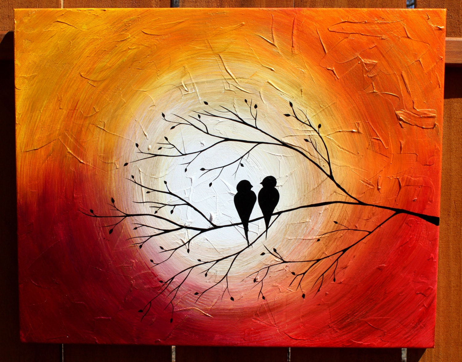 Love birds on a tree limb in the sunrise sunset acrylic for Love picture ideas