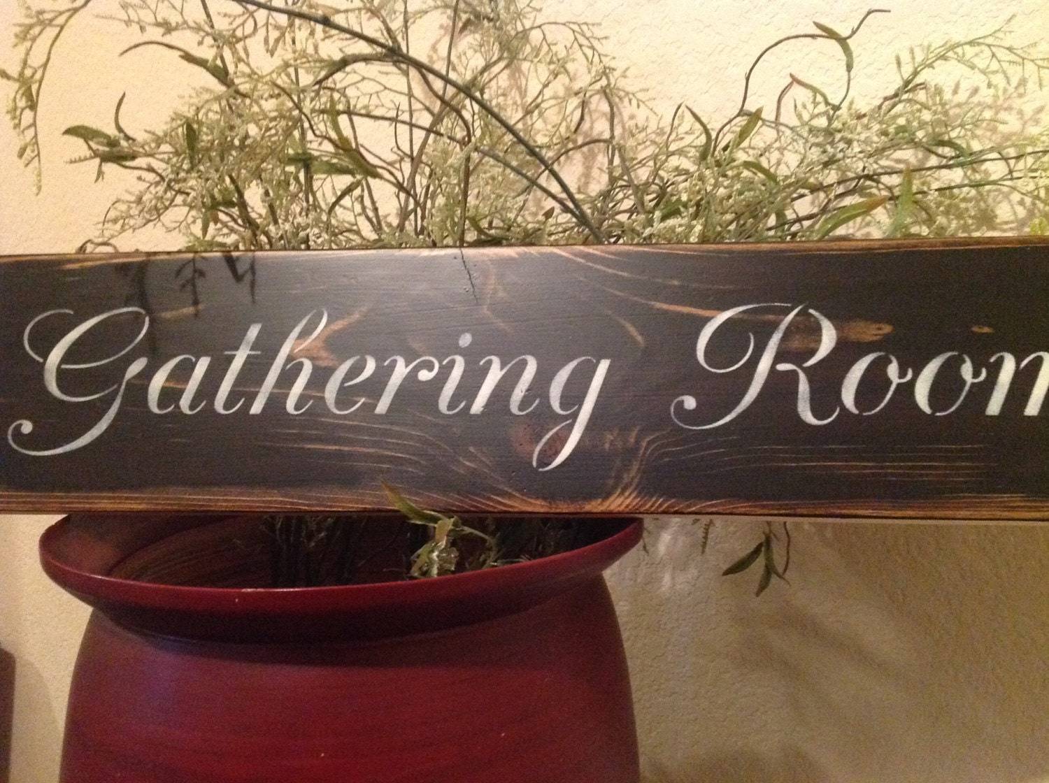 Gathering Room Wood Sign Primitive Vintage Family Signs