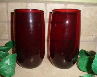 2 Royal Red Ruby 14 oz Drinking Glasses, Unmarked,  Anchor Hocking