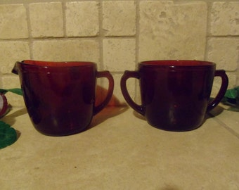Royal Red Ruby Sugar and Creamer, Unmarked,  Anchor Hocking
