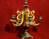 Candleabra with Griffins Antique Victorian Gothic Cast Iron and Brass