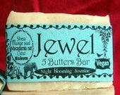 Jewel 5 Butters Bar, jasmine scent, palm oil free coconut milk soap
