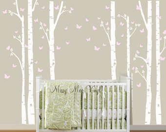 FREE application tool Birch Tree Decal with Butterflies Large Set, Birch trees, Birch forest, Nursery Birch Trees Wall Vinyl SHIPPING