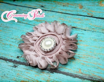 Vintage Light Pink Shabby Chiffon Flower, Baby Pink, Single Shabby Flower Headband, Baby Bow, Flower Hair Bow, Fabric Flowers