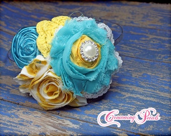Mustard Yellow, Turquoise Headband, Aqua, Fabric Flower Hair Bow, Hair Piece, Flower Headband, Baby Hair Bow, Brooch, Fabric Flowers