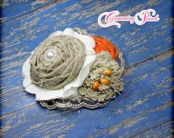 Orange, Ivory, Tan Burlap Headband, Burlap Hair Accessory, Fabric Flower Hair Piece, Baby Girl Hair Clip, Burlap Hair Piece, Hair Bow