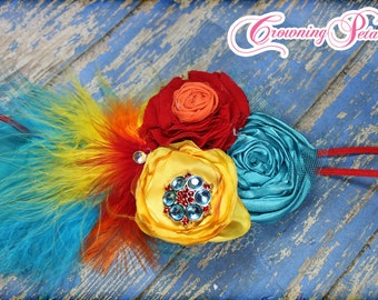 Turquoise, Red, Yellow Headband, Feather Hair Piece, Baby Hair Bow, Orange Fabric Flower Hair Accessories,