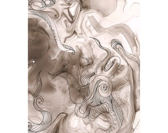 """Octopus Painting - Used to Octopus  - 8"""" x 10"""" Giclee Print of Black and White Painting on Yupo Synthetic Paper"""