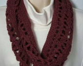 Hand Knit - Loom Knitted Cowl Neck Warmer - Cognac Heather