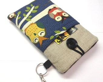Iphone pouch, ipod sleeve, iphone 5, 5C or 6 cover, cellphone pouch, Samsung Galaxy S4, S5 in owl designer fabric and beige linen