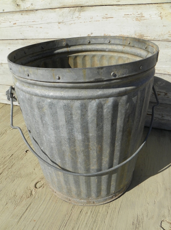 Vintage Industrial Factory Galvanized Pail Bucket Trash Can