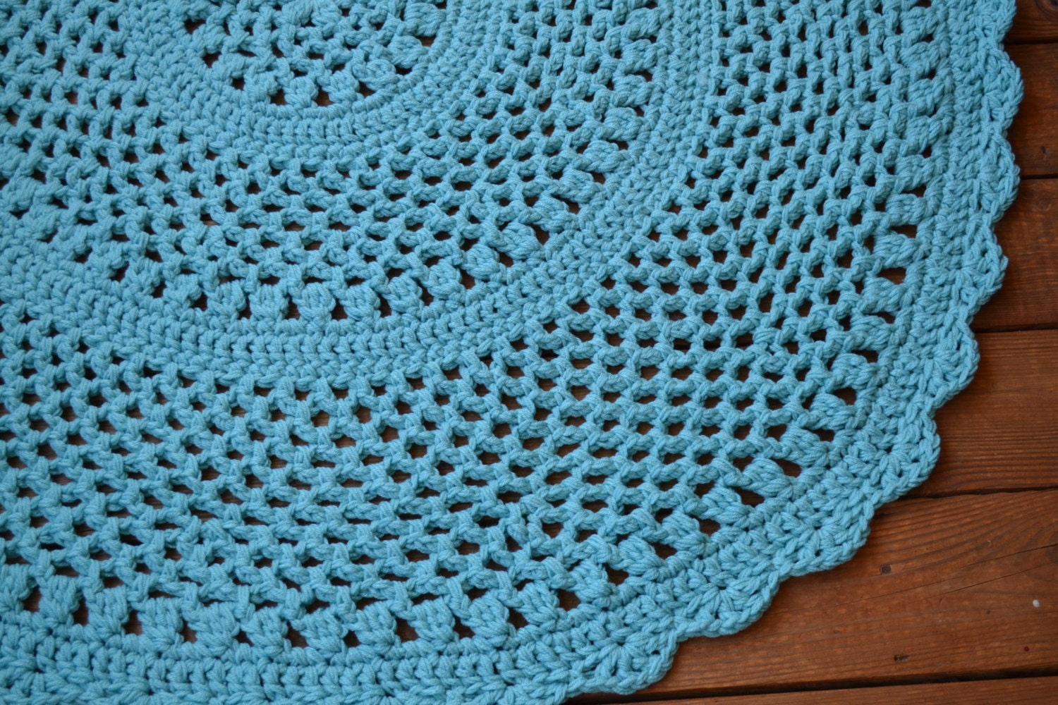 Crochet Round Rug : RESERVED Crochet Rug Round Turquoise 50 inch by LittlestSister