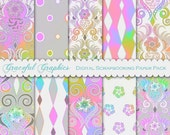 Scrapbook Paper Pack Digital Scrapbooking Background Papers DAMASK 10  8.5 x 11 EXOTIC Flower PASTEL Rainbow Gray 1855gg