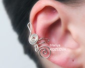 Left/ Right Ear Cartilage Cuff Music Treble Clef - tarnish resistant wire