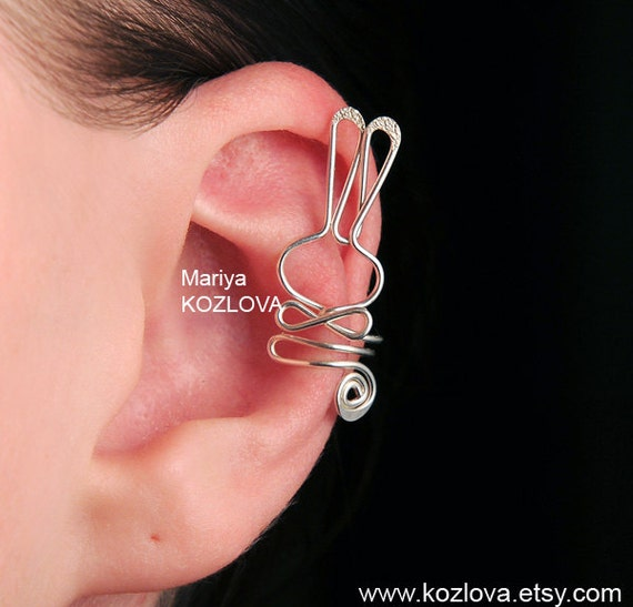 "Left Ear Cartilage Cuff  ""Be My Bunny"" - silver plated"