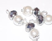 8mm pearl charm with swarovski crystals or drop (4pcs) - wire wrapped dangles - for use on charm bracelets, necklaces, earrings