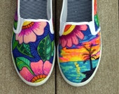 Hand painted shoes, sneakers, tropical art, original art, OOAK, womens sneakers, Custom sneakers, handpainted
