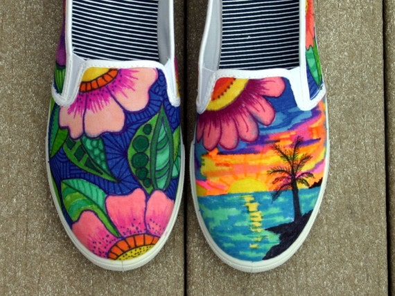 items similar to hand painted shoes sneakers tropical