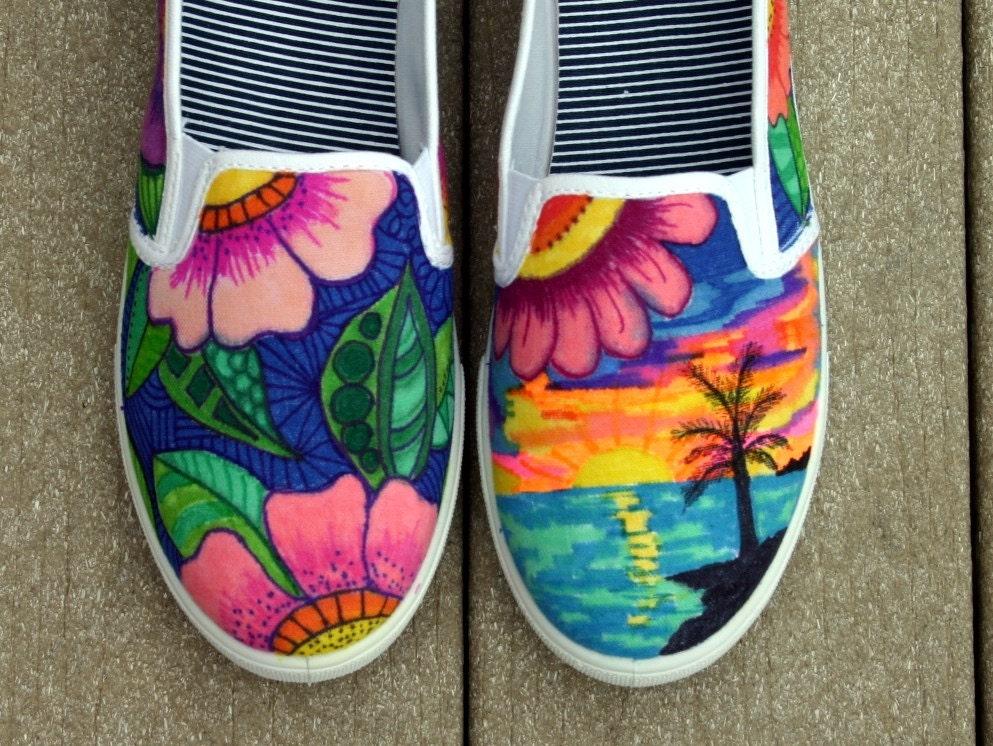 hand painted shoes sneakers tropical art original art