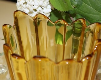 Vinatge Jagged Smooth Edged Amber Glass Vase