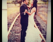 Photo Canvas Personalized With Words, 20x30, wedding photo with vows, First Dance, Wedding Song Lyrics with photo,