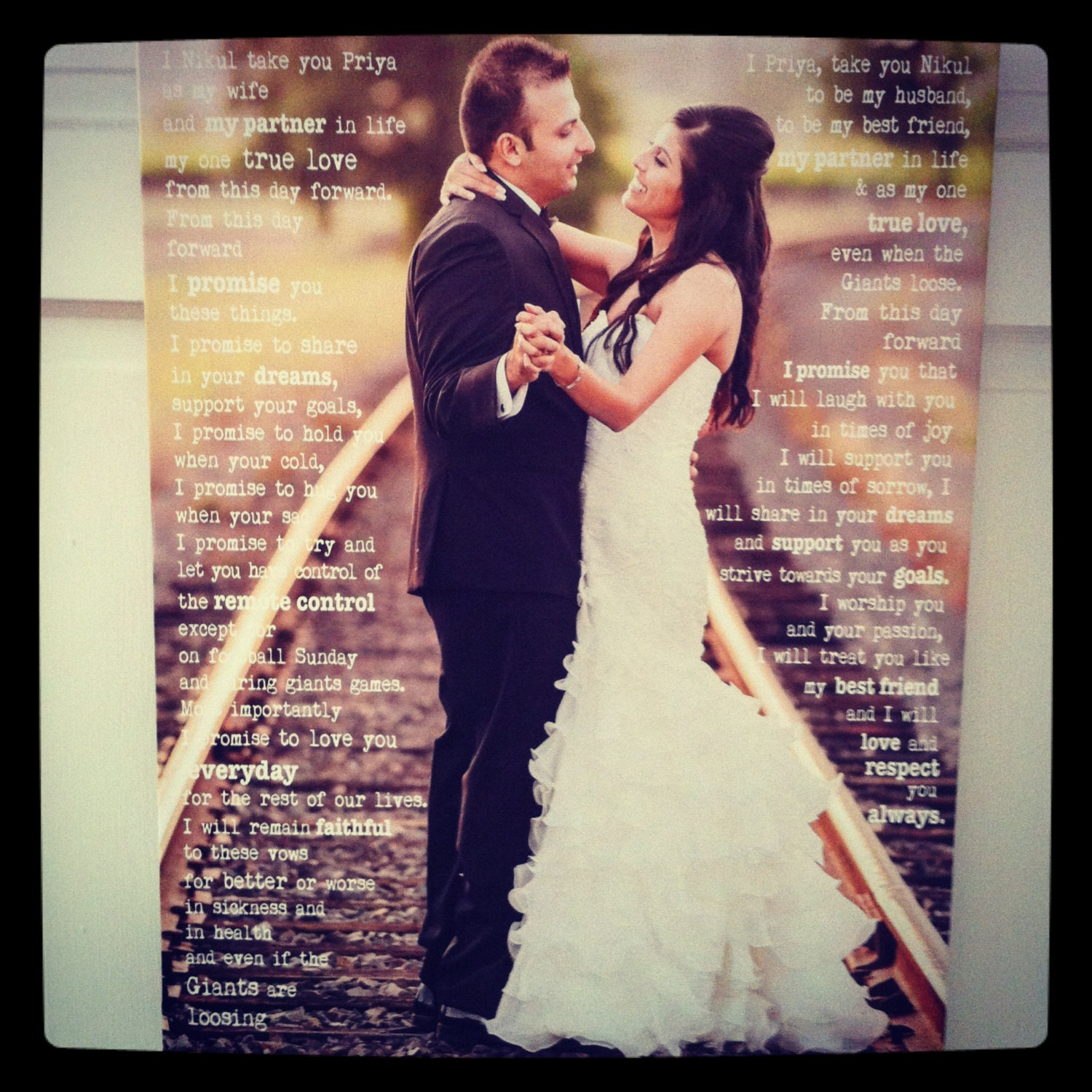 Wedding Song For Bridal Party: Photo Canvas Personalized With Words 20x30 Wedding Photo