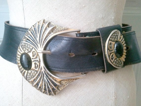 80S french vintage  BELT  large with big buckle / made in france