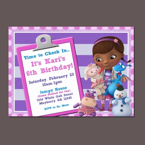 Items similar to Doc McStuffins invitation, Pink, Purple ...