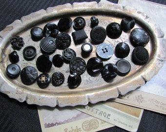 Lot of 31 Assorted Black Plastic Glass Buttons