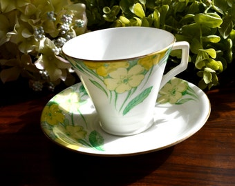 Radfords Fine Bone China Tea Cup and Saucer, Yellow Floral Motif, Gold Gilt, England
