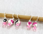 Goth Pink Hearts - Droplet Stitch Markers (set of 5)