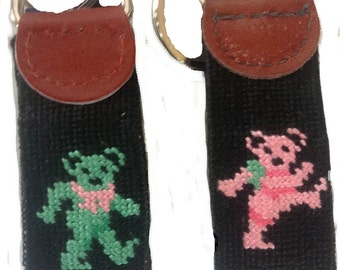 Needlepoint Key Fob Dancing Bears
