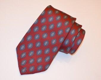 Burgundy Tie, Oscar de la Renta Necktie, Men's Neckwear, Vintage Tie, Deep Burgundy Necktie, Red Tie, Designer Necktie