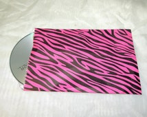 50 5 x 7 inch Hot Pink Zebra Paper Bags, Hot Pink Animal Print Flat Paper Party Bags, Zebra Striped Hot Pink Paper Merchandise Bags