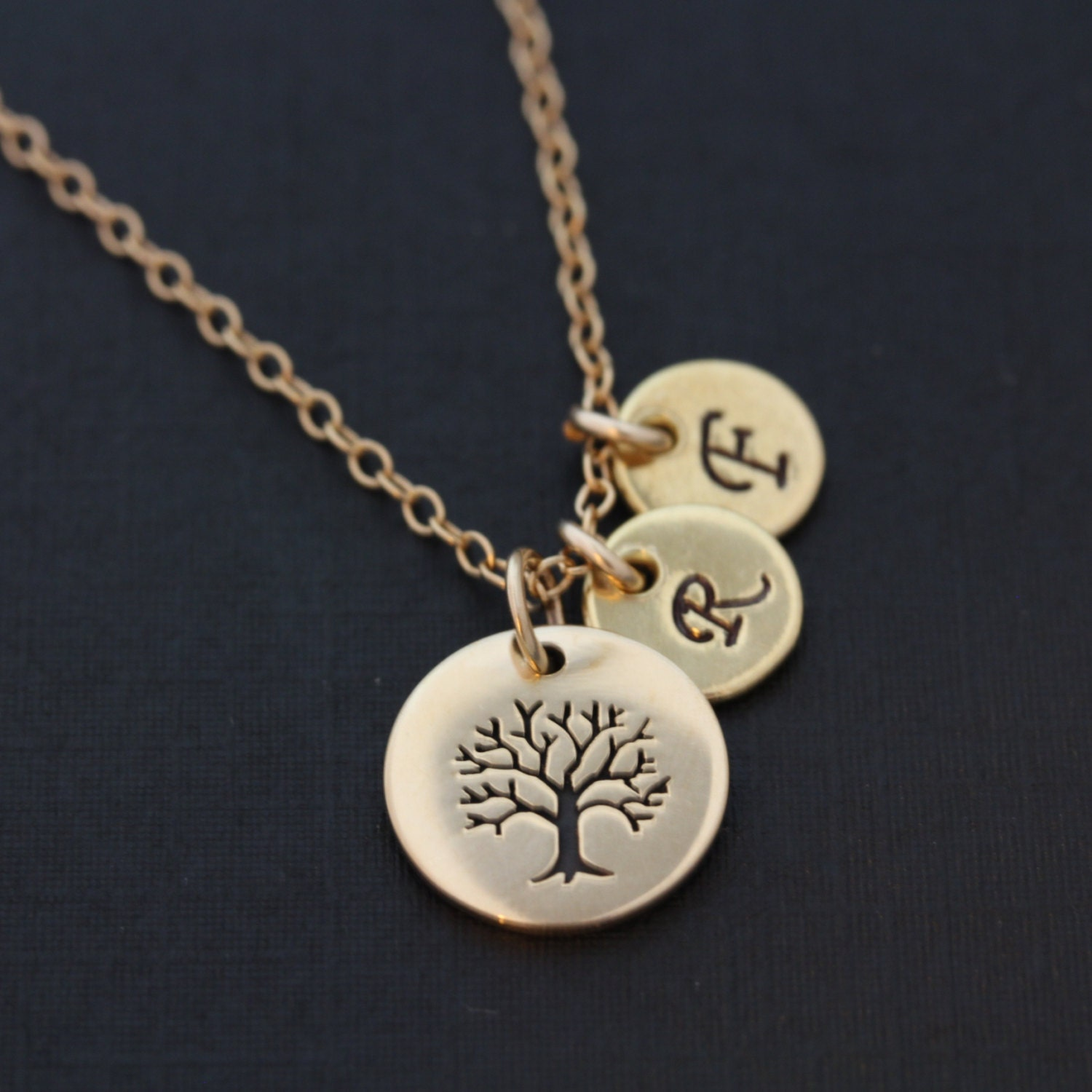 family tree necklace   monogram necklace   gold initial