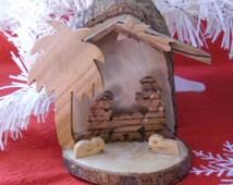 Vintage Christmas Nativity Set - Wood Nativity Scene, Wood Nativity