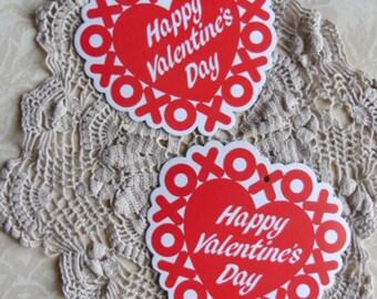 Vintage Valentines Decorations -  2 Amscan Cardboard Hearts